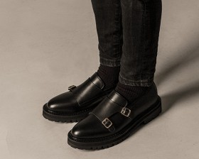 BLACK OVER SOLE DOUBLE MONK STRAP