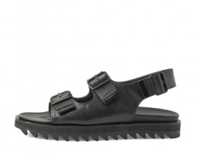BLACK COW BUCKLE DETAIL SANDALS