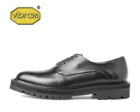 BLACK OVER SOLE PLAIN TOE DERBY