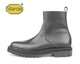 BLACK OVER SOLE ZIP UP BOOTS