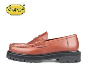 BLACK OVER SOLE PENNY LOAFERS