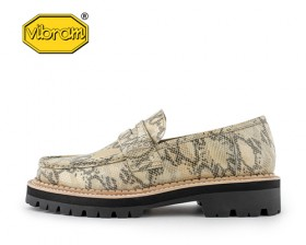 BLACK OVER SOLE PYTHON PENNY LOAFERS